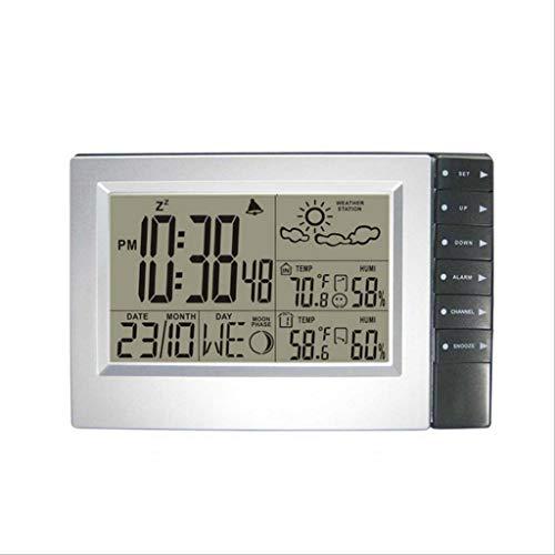 Station météo numérique sans fil avec thermomètre extérieur intérieur Hygromètre Réveils de température pour sauna numérique (Color : Silver, Taille : 7.87 * 5.11inch)