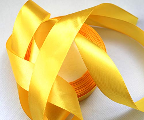 CaPiSo® 22m Satinband 25mm Breite 2,5cm Schleifenband Geschenkband Dekoband Weihnachten Hochzeit (Gelb, 22m)