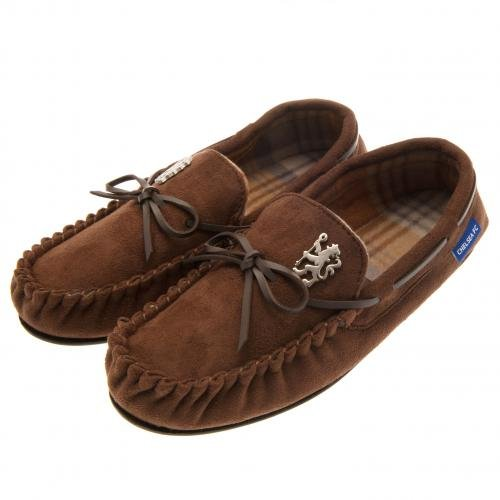 Chelsea F.C. New Official Chelsea FC Moccasin Slippers (Adult Sizes) Fleece Lined Rubber Soles (9-10 UK 43/44 EU)
