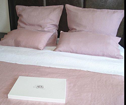 TETI 100{14facc5aec15fe957f79b86dfd0aa5c8ba80960e7c3e31ba63df981b7ca74350} Leinen 2- teiliges Bettwäsche-Set Öko Tex Pastellrosa/Pastel Pink 1x155x220 1x80x80 Neu in Geschenkbox