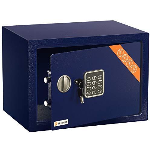 Brihard Family Caja fuerte Electrónica, 25x35x25cm HxWxD, Azul Marino