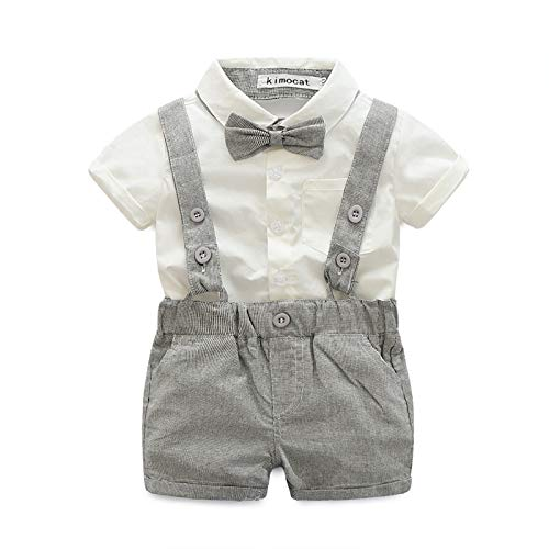 E.life Baby Jungen 2Pcs Gentleman Bowtie Hemd Top Hosenträger Strap Shorts Formal Kinder Party Outfit Kleidung Sets