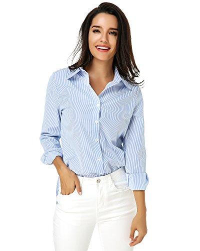 Auxo Damen V-Ausschnitt Streifen Langarm T-Shirts Blusen Hemd Lässig Tops Tunika Oberteil Hellblau EU 46/Etikettgröße 2XL (Langarm-shirt Zeigen Eleganz)