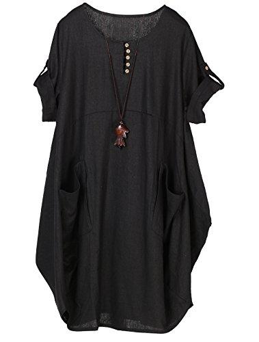 Lavnis Damen Leinen T-Shirt Tunika Kleid Rundhals Kurzarm Midi Kleid Schwarz 2XL