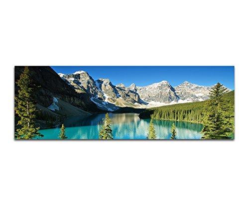 Panoramabild auf Leinwand und Keilrahmen 150x50cm Nationalpark Berge Waldsee Bäume Schnee