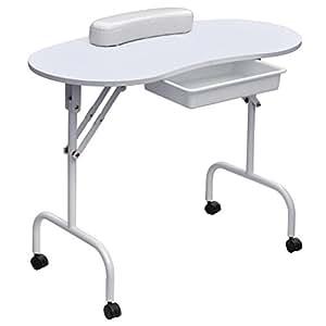 SODIAL(R) Portable Pliant Pliable Demontable Table de Manucure Ongle Art Technicien Station de Travail Bureau Tiroir de fond amovible + Sac de transport + repose-poignets