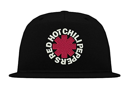 (TRVPPY 5 Panel Snapback Cap Modell Red Hot Chili Peppers, Weiß-Schwarz, B610)