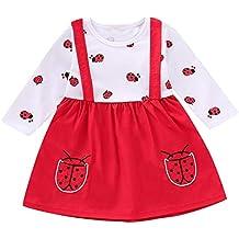 0c825e8900d1c Puseky 1pc bébé Filles en Bas âge Coccinelle Robe d impression Infantile  Tenue décontractée Tenues
