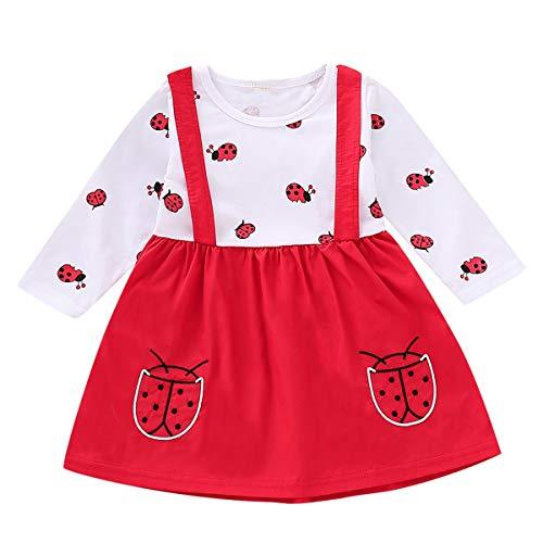 Mädchen Kleinkind Marienkäfer Print Kleid Infant Casual Dress Outfits (Color : Red, Size : 12-18M) ()
