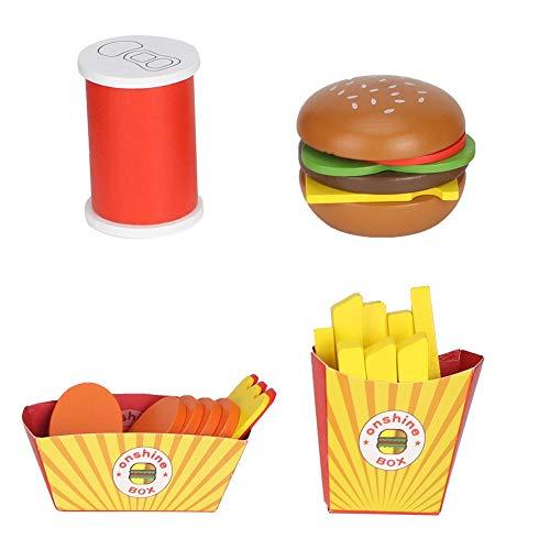 Zerodis Kinder Lebensmittel Set Hamburger Pommes Frites Spielzeuge aus Holz Spielhaus Hähnchensteak Cola Set für Kinder Jungen und Mädchen