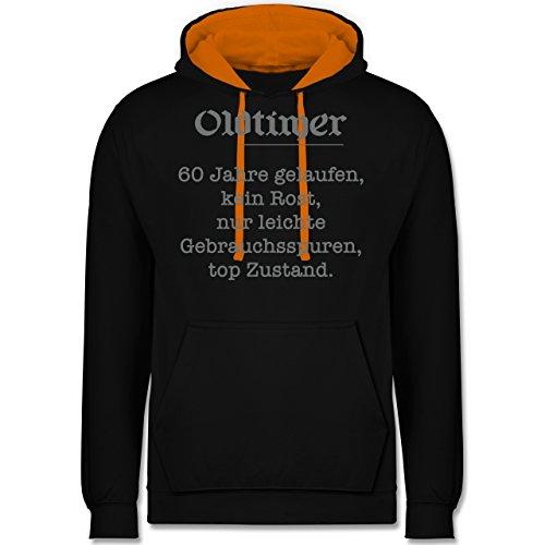 Geburtstag - 60. Geburtstag Oldtimer Fun Geschenk - Kontrast Hoodie Schwarz/Orange