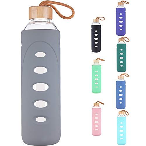 DEARRAY Sport Glas Trinkflasche 400ml / 1000ml / 1 Liter, Borosilikatglas Wasserflasche mit Silikonhülle und Einzigartigem Bambus Deckel