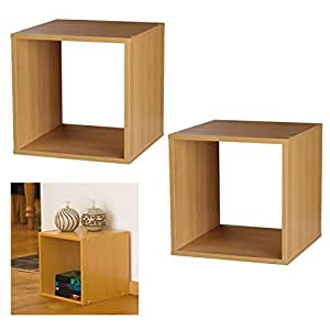 2 set 30 cm buchenholz cube aufbewahrungsbox aus holz k che haushalt. Black Bedroom Furniture Sets. Home Design Ideas
