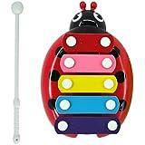 Malloom® bebé niño 5-Note xilófono Juguetes Musicales Desarrollo Sabiduría escarabajo Percusión (rojo)