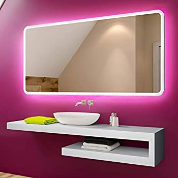 4000K Natural White Bathroom Mirrors with lights Silver Wall Mounted Mirror Light with Touch Button Explosion-proof LEBRIGHT LED Mirrors 23W 100x60cm