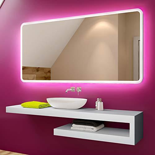 Badspiegel 120x70cm mit LED Beleuchtung - Wählen Sie Zubehör - Individuell Nach Maß - Beleuchtet Wandspiegel Lichtspiegel Badezimmerspiegel - LED Farbe zu Wählen Kaltweiß/Warmweiß L59