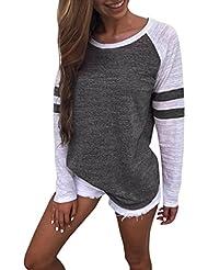 Hiroo Mujeres Niñas Blusa de empalme de manga larga Camisa Super Confort Camiseta de la raya de la impresión raya Elegantes tops de trabajo Sudaderas con capucha de túnica ligera (gris oscuro, XL)