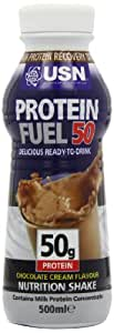 USN Protein Fuel Ready- to- Drink Protein Shakes, Chocolate - 6 x 500 ml Bottles