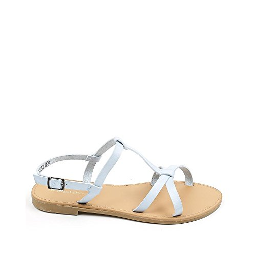 Ideal Shoes Sandales fluorescentes en Similicuir Tereza Bleu
