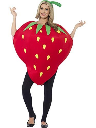 Halloweenia - Erwachsene Frauen Herren Himbeere Erdbeere Früchte Kostüm mit Überzugs-Tunika iund Mütze m OneSize Litfaßsäulen Stil, perfekt für Karneval, Fasching und Fastnacht, One Size, Rot