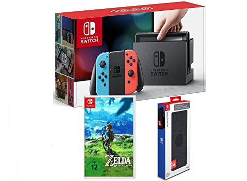 Nintendo Switch Konsole Neon-Rot/Neon-Blau + The Legend of Zelda: Breath of the Wild + Nintendo Switch Premium Konsolen-Tasche