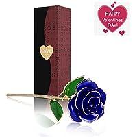 U-Kiss Rosa 24 K chapado en oro rosa flor de mejor regalo para el día de San Valentín Día (26K, Azul)