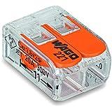 10 Stück Wago Verbindungsklemme 2 Leiter mit Betätigungshebel 0,2-4 qmm kleine Bauform transparent 221-413