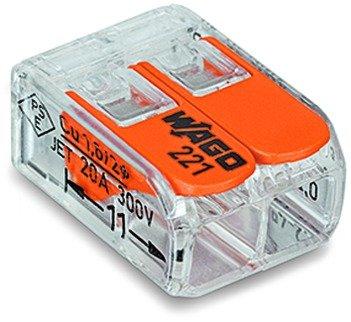 Preisvergleich Produktbild 10 Stück Wago Verbindungsklemme 2 Leiter mit Betätigungshebel 0,2-4 qmm kleine Bauform transparent 221-413