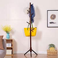 Comparador de precios Perchero De Madera Simple Piso Casa Percha Dormitorio Salón Europeo Creativa Ropa Rack (8 Ganchos),Black - precios baratos