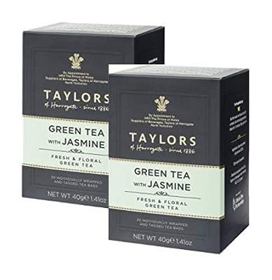 Thé vert Taylors au jasmin/Té Verde au Gelsomino Fresco e Floreale - 2 x 20 sachets de thé emballés individuellement et étiquetés (80 grammes)