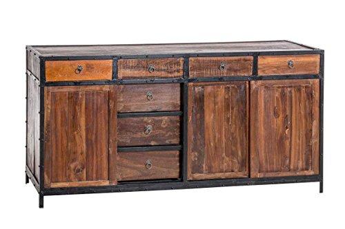 CLP Sideboard AKONA aus recyceltem Holz und Metall I Kommode mit Schubladen und Schiebetüren I Holzkommode im Industrial-Look Braun (Metall Sideboard)