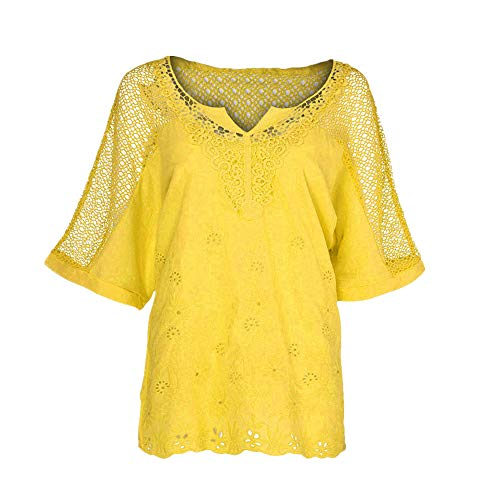 Damen Sommer T Shirt Oansatz Kurzarm Aushöhlen Solide Lässige Bluse Top Tee Shirts ()
