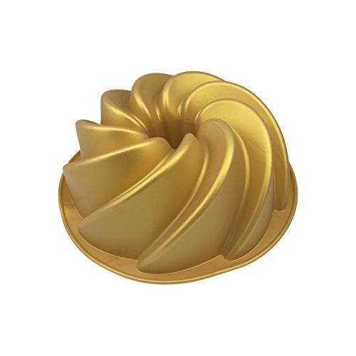 Gugelhupf Backform - Silikon, 21 x 7,5 cm (ØxH), Gold farben, Mikrowellen-/Backofen geeignet, -40°C bis +230°C, Spülmaschinenfest, Stückzahl:2 Stück