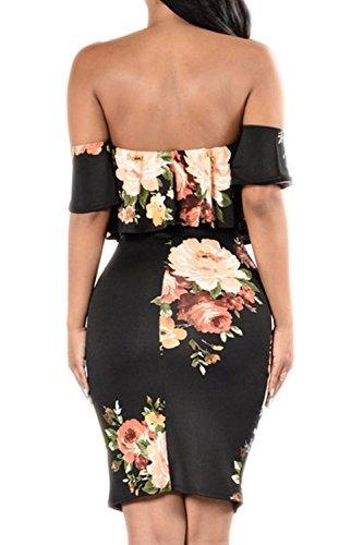 Damen Fashion Elegant Schulterfreies Kleid Blumen Floral Off Shoulder Bodycon Partykleid Strandkleid mit Cut-outs TA