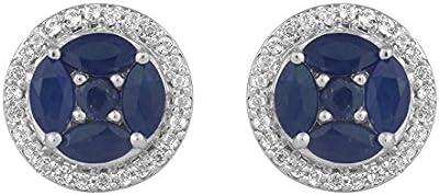 Jewelili mujer  Plata de ley (925/1000)  plata talla esmeralda   azul zafiro topacio FASHIONEARRING