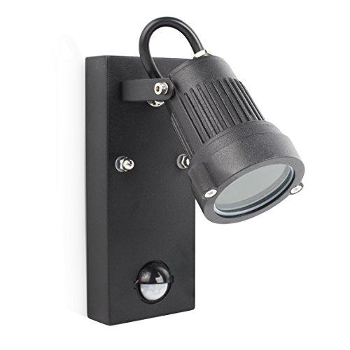 Smartwares Retro Außenleuchte/Wandspot mit einstellbarem Bewegungssensor Aluminium 20 W, Schwarz 7 x 10 x 16,2 cm