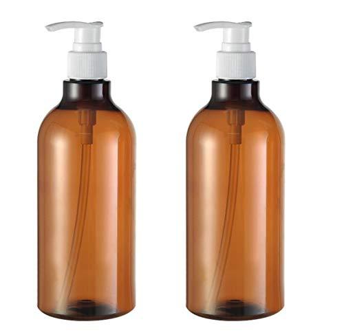 2 unidades de 500 ml sin BPA de plástico ámbar vacío grande bomba dispensador de botellas contenedor para baño cuerpo lavado loción jabón crema ducha líquido cosméticos bases