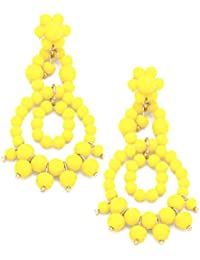 Joyas Ant Symphony Ethno boho Chic larga Chandelier pendientes perlas de cristal amarillo 6,5 cm de largo