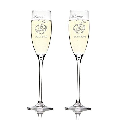Deux flûtes LEONARDO Cheers Gravure motif : Dans le cœur double anneaux Coeur