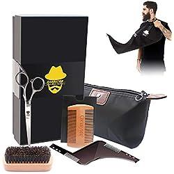 Kit de cuidado para barba, peine de barba Oxsaytee + cepillo de barba + moldeador de barba + babero + tijeras de barba Kit de cuidado de barba para hombres y el día del padre regalo de cumpleaños