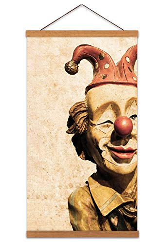 Wee Blue Coo LTD Vintage Circus Clown Doll Model Canvas Wall Art Print Poster Magnetic Hanger Clip Frame 24x12 Inch Jahrgang Zirkus Wand -