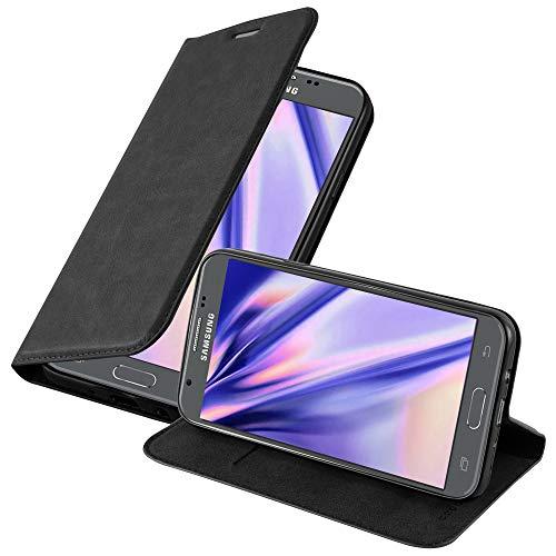 Cadorabo Hülle für Samsung Galaxy J5 2017 (7) - Hülle in Nacht SCHWARZ - Handyhülle mit Magnetverschluss, Standfunktion und Kartenfach - Case Cover Schutzhülle Etui Tasche Book Klapp Style
