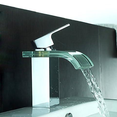 kunmai cristal Cascade en verre à levier unique robinet mitigeur pour lavabo de salle de bain avec finition chromée