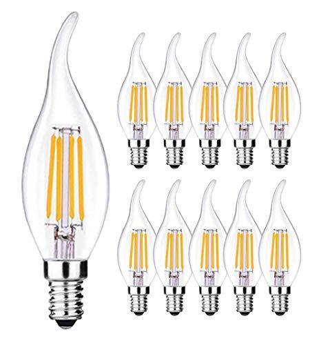 10 X Ampoule LED E14 Flamme Forme Bougie - 4W E14 Ampoules Bougie à LED - 2700K Blanc Chaud,470LM Super Lumineux,220V