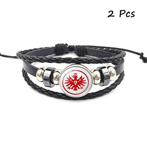 Lorh\'s store Retro Bundesliga Fußball Club Abzeichen Perlen gewebt Lederarmband Fußball Sport Armband für Fans 2 Pcs (Eintracht Frankfurt)