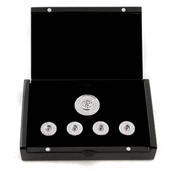 RMC Martn Ksohoh Diamond and Ruby custom made button set in gift box RMC2337