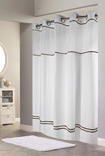 Arcs & Angles Duschvorhang rbh40my040Monterey Vorhang für die Dusche, weiß/schwarz, weiß/schwarz, 72-Inch by 72-Inch