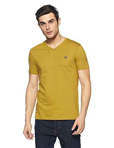 Amazon Brand- Symbol Men's Cotton V-Neck T-Shirt (AW17PLSV4_L_Ecru Olive)