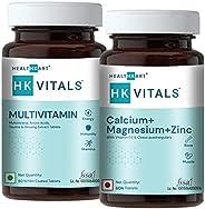 HealthKart Multivitamin 60 tablets + Calcium, Unflavoured (Pack of 02)