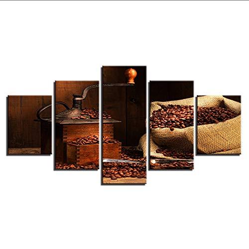 (Wiwhy Modular Pictures Bedside Hintergrund Poster Abstrakt 5 Stücke Kaffeebohnen Herz Moderne Gemälde Für Dekor Leinwand Kunstdruck Wand-30Cmx40/60/80Cm,Without Framewiwhy)